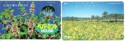 2 Télécartes Japon Japan  Fleur Flower  Phonecard (D 665) - Fleurs