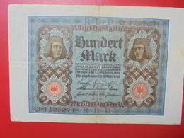 100 MARK 1920 ALPHABET :Q CIRCULER (B.4) - [ 3] 1918-1933 : Repubblica  Di Weimar