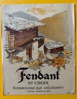 10662 - Fendant 1er Choix Valais Suisse Ancienne étiquette Bassegoda Délémont - Etiquettes