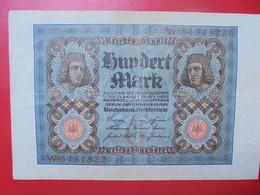 100 MARK 1920 ALPHABET :W CIRCULER (B.4) - [ 3] 1918-1933 : Repubblica  Di Weimar