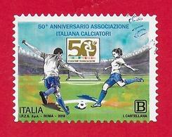 ITALIA REPUBBLICA USATO - 2018 - 50º Anniversario Dell'associazione Italiana Calciatori - 1,10 € - B - S. ---- - 1946-.. Republiek