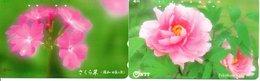 2 Télécartes Japon Japan  Fleur Flower  Phonecard (D 675) - Fleurs
