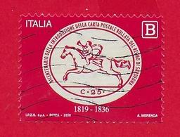 ITALIA REPUBBLICA USATO - 2019 - 200º Anniversario Introduzione Carta Postale Bollata Regno Sardegna - 1,10 € B - S ---- - 6. 1946-.. Republic