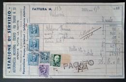 Trento 1943 - Fattura Stazione Di Servizio Autorimessa Moderna - Marche Da Bollo - Italia