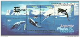 AAT - 1996 CAPEX 96 Exhibition S/sheet (Whales & Dolphins) MNH **  SG MS112b  Sc L97c - Australisch Antarctisch Territorium (AAT)