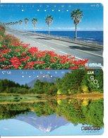 2 Télécartes Japon Japan  Fleur Flower  Phonecard (D 682) - Fleurs