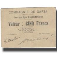 Billet, Tunisie, GAFSA, 5 Francs, Valeur Faciale, 1915, 1915-12-25, TTB - Tunisie
