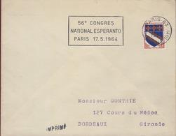 """Espéranto Flamme Sécap =o Paris 83 14-4 1964 """" 56eme Congrès National Espéranto Paris 17-5 1964"""" - Esperanto"""
