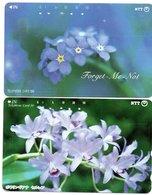 2 Télécartes Japon Japan  Fleur Flower  Phonecard (D 686) - Fleurs
