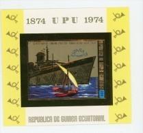 UPU-Bateau-Espana-Guinée Equatoriale 1974-MI  B141***MNH-Bloc OR-  NON Dentelé - Ships