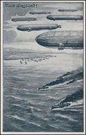 Ansichtskarte Luftflotten-Verein: Nach England! Zeppeline Flotte, MAINZ 15.2.15 - Parteien & Wahlen
