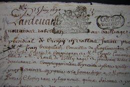 1690 Crépy Convention Entre La Famille De Billy Et Charles Pinson Et Philippe Carendas Maîtres Maçons Ferme De Mermont - Manuscripts