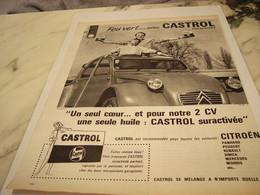 ANCIENNE PUBLICITE 2 CV ET  FEU VERT AVEC CASTROL 1961 - Transportation