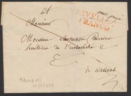 """Précurseur - LSC Datée De Baulers 25/3/1828 + Griffe """"NIVELLES FRANCO"""" (P.P.) Vers Malines. TB - 1815-1830 (Période Hollandaise)"""