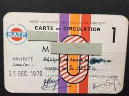 RATP  Carte De Circulation  ANNÉE 1970 - Titres De Transport