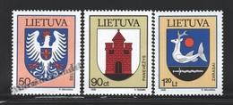 Lituanie – Lithuania – Lituania 1996 Yvert 544-46, Coats Of Amrs Of The Cities (III) - MNH - Lituania