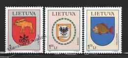 Lituanie – Lithuania – Lituania 2001 Yvert 673-75, Cities Coat Of Arms (X) - MNH - Lituania