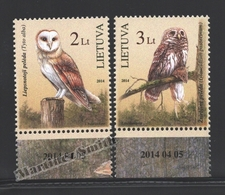 Lituanie – Lithuania – Lituania 2014 Yvert 1011-12, The Red Book, Fauna, Birds, Owls - MNH - Lituania