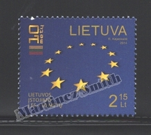 Lituanie – Lithuania – Lituania 2014 Yvert 1013, 10th Ann. Entrance In The European Union - MNH - Litauen