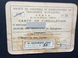 S.C.E.T.A.  Carte De Circulation  ANNÉE 1964 - Titres De Transport