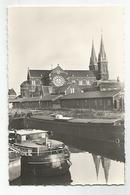 59 Dunkerque CPSM Eglise Saint Martin Et Le Canal De Jonction Animée Peniches - Dunkerque