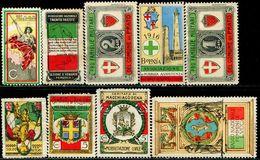 CB0427 Italy 1916 World War I Memorial National Flag, Etc. 9V Light Stickers MNH - Erinnofilia