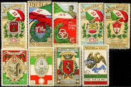 CB0429 Italy 1918 World War I Memorial National Flag, Etc. 9V Light Stickers MNH - Erinnofilia