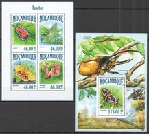 ST2500 2013 MOZAMBIQUE MOCAMBIQUE FLORA & FAUNA INSECTS & BUTTERFLIES INSETOS KB+BL MNH - Altri