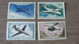 """Aviation - Noratlas"""" / Morane-Saulnier 760""""Paris"""" / Caravelle  / Alouette - 4 Timbres N° 38 à 41 Année 1960-64 Neufs** - Posta Aerea"""