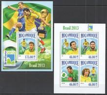 ST2513 2013 MOZAMBIQUE MOCAMBIQUE SPORT FOOTBALL BRAZIL NATIONAL TEAM NEYMAR HULK KB+BL MNH - Coppa Del Mondo