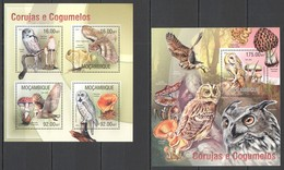 ST2546 2013 MOZAMBIQUE MOCAMBIQUE FLORA & FAUNA MUSHROOMS BIRDS OWLS CORUJAS KB+BL MNH - Gufi E Civette