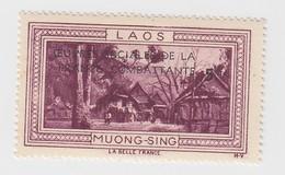 VIGNETTE  INDOCHINE. OEUVRES SOCIALES DE LA FRANCE COMBATANTE + 5fr. LAOS MUONG-SING - Indochine (1889-1945)