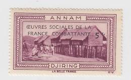 VIGNETTE  INDOCHINE. OEUVRES SOCIALES DE LA FRANCE COMBATANTE + 5fr. ANNAM DJIRING - Indochine (1889-1945)