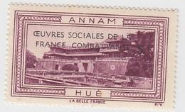 VIGNETTE  INDOCHINE. OEUVRES SOCIALES DE LA FRANCE COMBATANTE + 5fr. ANNAM HUÉ - Indochine (1889-1945)