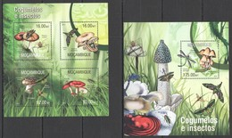ST2559 2013 MOZAMBIQUE MOCAMBIQUE FLORA & FAUNA MUSHROOMS INSECTS & BUTTERFLIES KB+BL MNH - Altri