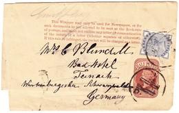 Newspaper Rapper Half Penny Mit Zusatzfrankatur Nach Tenach Schwarzwald; Gebrauchspuren - 1840-1901 (Victoria)