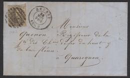 Médaillon - N°10 Touché Sur LAC Obl P21 (8 Barres) çàd Boussu 26/11/1862 Vers Quaregnon. TB - 1858-1862 Médaillons (9/12)