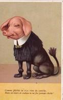 CPA Caricature Animal Humanisé Position Humaine Chien Caniche Cochon Porc Pig  Illustrateur  (2 Scans) - Illustrateurs & Photographes
