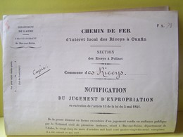 "LES RICEYS (AUBE) CHEMIN DE FER D'INTERET LOCAL DES RICEYS A CUNFIN. JUGEMENT D'EXPROPRIATION.  100_7877""b"" - Les Riceys"