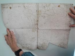 Parchemin Manuscrit Sur Peau 47 Par 35 Cm  à Déchiffrer 1612 - Manuscripts