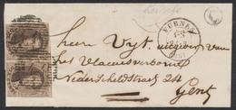 """Médaillon - N°10A En Paire Touché + 2 Voisins Sur LSC Obl P44 çàd Furnes (1861) + Boite Rurale """"C"""" (Leysele) Vers Gent - 1858-1862 Médaillons (9/12)"""