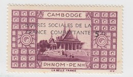 VIGNETTE  INDOCHINE. OEUVRES SOCIALES DE LA FRANCE COMBATANTE + 5fr. CAMBODGE PHNOM-PENH - Indochine (1889-1945)