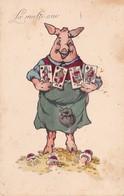 CPA Animal Humanisé Cochon Porc Pig Carré De Rois Cartes à Jouer Champignon Viennoise HHIW N° 1100  Illustrateur 2 Scans - Cochons