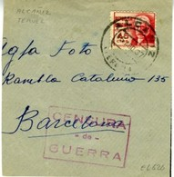 1937 ALCANIZ  CENSURA DE GUERRA  Fragmento   EL626 - 1931-Today: 2nd Rep - ... Juan Carlos I