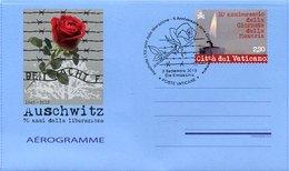 45740 Vaticano,aerogramme Air Letter  Special Postmark 2015,  Auschwitz, 70th Anniversary Of Liberation,arbeit Mach Frei - WW2