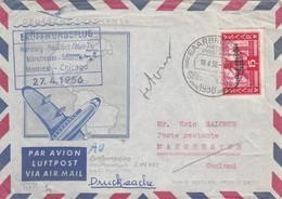 SAAR 1956 SAARBRUCKEN MANCHESTER ERÖFFNUNGSFLUG 1956 - Allemagne