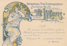 CARTE E MATHIS CALENDRIERS RECLAMES MARCHIENNES NORD - Publicités