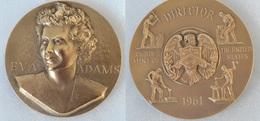 SUPERBE ET RARE - EVA ADAMS (US Mint 1961/1969) Signée GILROY ROBERTS 1962 - Médaille Bronze - Other