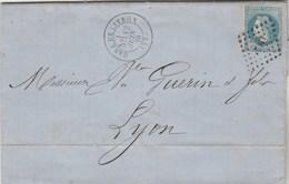 Yvert 29B Lettre Cachet GARE De LIVRON Drôme 12/6/1870 Losange LM2 à Lyon - Marcophilie (Lettres)