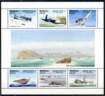 """MALDIVES 1995** - World War II - """"War In The Pacific"""" - Block Di 6 Val. MNH, Come Da Scansione. - Seconda Guerra Mondiale"""